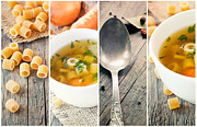 Wooden Bowl Posters - Vegetable soup collage Poster by Mythja  Photography