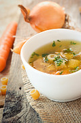 Soup Photo Posters - Vegetable soup with pasta Poster by Mythja  Photography