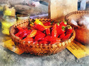 Market Art - Vegetables - Hot Peppers in Farmers Market by Susan Savad