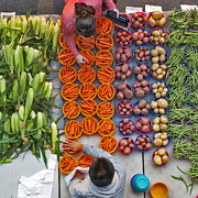 Local Food Prints - Vegetables Market Print by Dariusz Janczewski