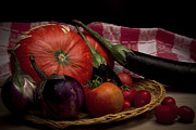 Basket Pyrography Prints - Vegetables Print by Riccardo Livorni