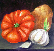 Fresh Vegetables Painting Posters - Veggie Trio Poster by Enzie Shahmiri
