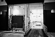 Goods Prints - Vehicle Deck Access And Goods Loading Bay In The Side Of Hurtigruten Ship Ferry At Night Norway Euro Print by Joe Fox