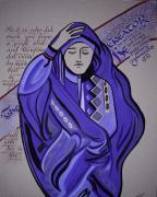 Middle East Mixed Media Originals - Veiled Woman by Barbara Beck-Azar