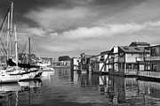 Vancouver Digital Art Prints - Veiw Of Marina In Victoria British Columbia Black And White Print by Ben and Raisa Gertsberg