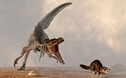Prehistoric Digital Art - Velociraptor Chasing Small Mammal by Daniel Eskridge