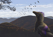 Dromaeosaurid Prints - Velociraptor In An Autumn Landscape Print by Emily Willoughby