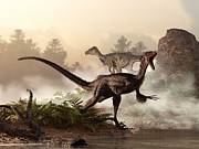 Velociraptors Prowling The Shoreline Print by Daniel Eskridge