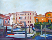 Buildings Mixed Media Originals - Venetian Cityscape by Filip Mihail