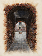 Canals Drawings Framed Prints - Venetian courtyard 01 Elena Yakubovich Framed Print by Elena Yakubovich