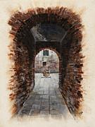 Venetian Courtyard 01 Elena Yakubovich Print by Elena Yakubovich