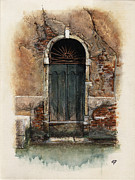 Canals Drawings Framed Prints - Venetian door 01 Elena Yakubovich Framed Print by Elena Yakubovich