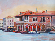 Venice Mixed Media Originals - Venetian Fish Market by Filip Mihail