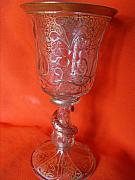 Venetian Glass Glass Art Originals - Venetian glass goblet decorated with a floral gilt design and relief glass by Anonymous artist