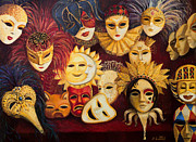 Painted Feathers Paintings - Venetian Masks by Kiril Stanchev