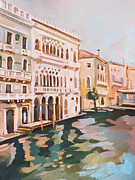 Italian Landscapes Paintings - Venetian Palaces by Filip Mihail