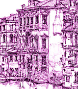 Pencil Greeting Cards Art - Venetian purple house by Lee-Ann Adendorff
