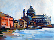 Buildings Mixed Media Originals - Venetian Shoreline by Filip Mihail