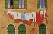 Washday Paintings - Venetian Washday by Mary Ellen  Mueller-Legault