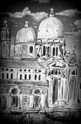Gondola Mixed Media Framed Prints - Venezia in bianco e nero Framed Print by Roberto Gagliardi
