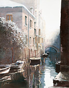 Fog Painting Framed Prints - Venezia sotto la neve Framed Print by Guido Borelli
