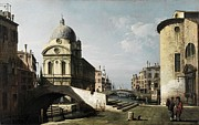 Gold Foil Paintings - Venezianisches Capriccio mit Ansicht von Santa Maria dei Miracoli c 1740  by MotionAge Art and Design - Ahmet Asar