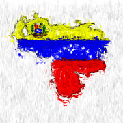 Abstract Map Digital Art - Venezuela Painted Flag Map by Antony McAulay