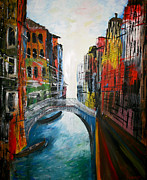 Dwarves Posters - Venice and the Dwarves A Painting of a Small Venice Bridge Poster by M Bleichner