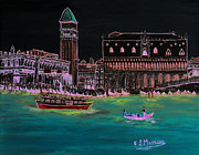 Town Square Drawings Prints - Venice at night Print by Loredana Messina