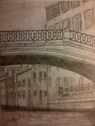 Bridge Drawings Originals - Venice by a Canal by Irving Starr