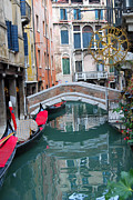 Italian Restaurant Digital Art Posters - Venice Canal and Buildings Poster by Eva Kaufman