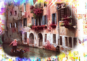 Filter Paintings - Venice Canal and Gondolier by Joseph Diaz