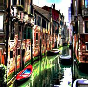 Cityscape Digital Art Metal Prints - Venice Canal Metal Print by Byron Fli Walker