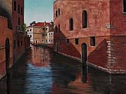 Brick Buildings Painting Framed Prints - Venice Canal Framed Print by Darice Machel McGuire