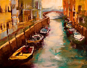 Boats Pastels Prints - Venice Canal Print by David Patterson