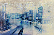 Old Mixed Media Metal Prints - Venice Canal Grande Metal Print by Frank Tschakert