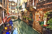 Poster  Paintings - Venice Canal Serenity by Sanely Great