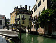 Watercolor Map Photos - Venice Canal Summer in Italy by Irina Sztukowski