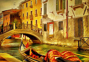 Gondolier Framed Prints - Venice Canals 12 Framed Print by Yury Malkov