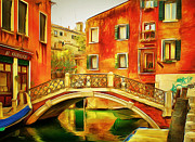 Gondolier Framed Prints - Venice Canals 14 Framed Print by Yury Malkov