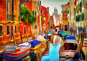 Gondolier Digital Art Framed Prints - Venice Canals 20 Framed Print by Yury Malkov