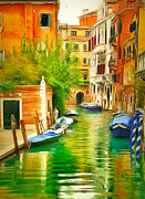 Gondolier Framed Prints - Venice Canals 21 Framed Print by Yury Malkov