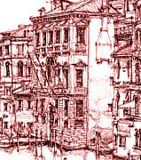 City Buildings Drawings Prints - Venice canals in red Print by Lee-Ann Adendorff
