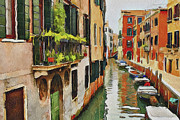 Gondolier Digital Art Framed Prints - Venice Canals Watercolor 19 Framed Print by Yury Malkov