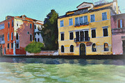 Gondolier Framed Prints - Venice Canals Watercolor 2 Framed Print by Yury Malkov