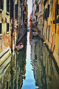 Gondolier Digital Art Framed Prints - Venice Canals Watercolor 3 Framed Print by Yury Malkov