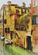 Gondolier Framed Prints - Venice Canals Watercolor 4 Framed Print by Yury Malkov