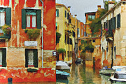 Gondolier Digital Art Framed Prints - Venice Canals Watercolor 7 Framed Print by Yury Malkov