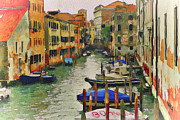 Gondolier Framed Prints - Venice Canals Watercolor 8 Framed Print by Yury Malkov
