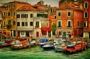 Gondolier Framed Prints - Venice Canals1 Framed Print by Yury Malkov